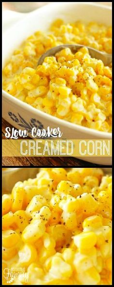 This Slow Cooker Creamed Corn is the perfect side dish. A favorite for Thanksgiving! You will love the creamy, sweet, and savory combination of flavors. via (thanksgiving dishes) Corn Recipes, Side Dish Recipes, Veggie Recipes, Healthy Recipes, Best Thanksgiving Side Dishes, Thanksgiving Recipes, Christmas Recipes, Thanksgiving Vegetables, Side Dishes