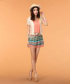 Chiffon lace cardigan with a suit vest two girls rainbow striped summer dress women's skirt - Taobao $22.52