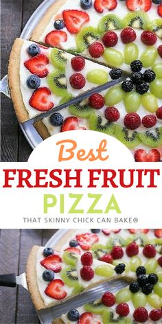 Fresh Fruit Pizza - A vibrant, delicious dessert pizza with a sugar cookie crust and cream cheese frosting! #dessertpizza #fruitpizza #pizza #nationalpizzamonth Easy No Bake Desserts, Homemade Desserts, Best Dessert Recipes, Desert Recipes, Easy Desserts, Sweet Recipes, Summer Desserts, Recipes Dinner, Summer Recipes