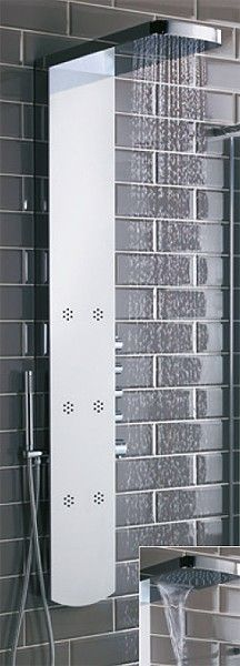 Shimmer Thermostatic Shower Panel With Jets. Bathroom Shower Panels, Bathroom Paneling, Shower Heads, Chrome Finish, Jets, Locker Storage, Waterfall, Home Decor, Showers