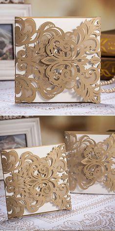 "gold metallic laser cut lace elegant pocket wedding invitations// Use coupon code ""CVB"" to get 10% off towards all the invitations. #elegantweddinginvites"