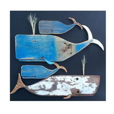 one of the most creative pieces we've seen! Handmade Whales by Driftwood Projects, Driftwood Art, Fish Crafts, Beach Crafts, Wood Fish, Fish Sculpture, Wale, Sea Art, Wood Creations