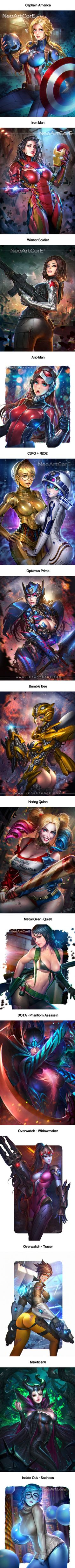 14 Movie & Game Characters Transformed In Pin-Up Style, All Waifu Materials (By NeoArtCorE)