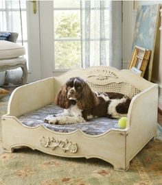 Eloise dog bed from Soft Surroundings Puppy Beds, Pet Beds, Wood Dog Bed, Pet Resort, Dog Furniture, Dog Rooms, Animal Decor, Diy Stuffed Animals, Dog Houses