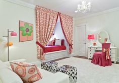 Teenager Zimmer Mädchen Ideen weiß rosa akzente