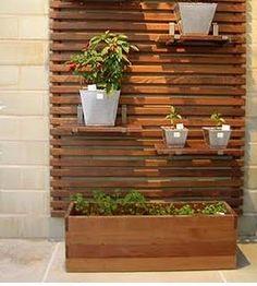 outdoor slat wall + planter boxes or shelves. Fence Planters, Planter Boxes, Privacy Planter, Vertical Planter, Outdoor Wall Planters, Pergola Planter, Outdoor Shelves, Patio Fence, Cedar Fence