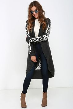 White Crow Gabby Grey Print Cardigan Sweater at Lulus.com!