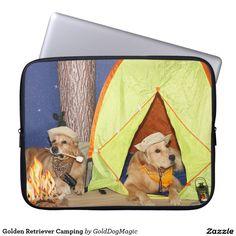 Golden Retriever Camping Computer Sleeve