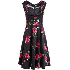 Vintage Rose Printed Sweetheart Neck Sleeveless Ball Gown Dress For Women