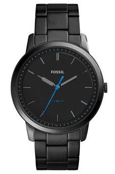 Fossil Herenhorloge 'The Minimalist' FS5308. Stoer vormgegeven Fossil horloge. Dit horloge heeft een zwarte stalen kast en horlogeband. De zwarte wijzerplaat is voorzien van duidelijke tijdaanduiding met een kobaltblauwe secondenwijzer. https://www.timefortrends.nl/horloges/fossil/heren.html