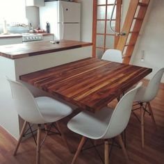 Hidden Dining Table Project - MiniMotives Wall Dining Table, Dining Table Small Space, Tiny Dining Rooms, Kitchen Island Dining Table, Dining Table Design, Fold Out Table, Accent Walls In Living Room, Hidden Kitchen, Decoration