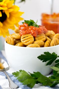 Grain-Free Gnocchi made with Simple Mills pizza dough mix and sweet potato puree. It's gluten-free and paleo friendly! Fodmap Recipes, Pork Recipes, Veggie Recipes, Gluten Free Recipes, Whole Food Recipes, Healthy Recipes, Healthy Dinners, Paleo Dinner, Easy Dinner Recipes