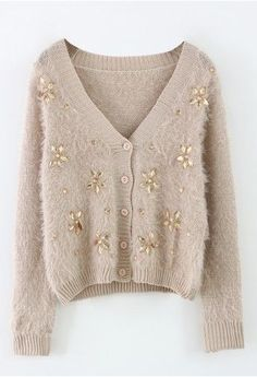 Floral Beads Fluffy Knit Cardigan