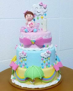 Cute with the kid First Birthday Cakes, Birthday Cake Girls, Baby Birthday, Pretty Cakes, Cute Cakes, Beautiful Cakes, Fondant Cakes, Cupcake Cakes, Cloud Cake