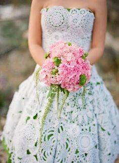 Handmade Wedding Dress From Crochet Doilies over green- not getting married but really love the idea!
