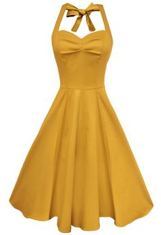 Anni Coco® Women's Sexy Halter Neck Polka Dot Dress 1950s Vintage Dress Rockabilly Cocktail Swing Dresses XX-Large Yellow