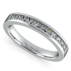 Princess Channel Diamond Wedding Ring in White Gold (1/2 ctw)