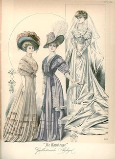 De Gracieuse, May 1908, Edwardian Fashion Plate with bride
