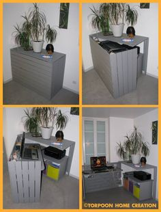 Bureau caché / Hidden desk this would also work great outside to hide trash cans Desk, DIY, Pallet - Home Decor Pin Hidden Desk, Hidden Trash Can, 1001 Pallets, Wood Pallets, Pallet Wood, Recycled Pallets, Recycled Wood, Diy Furniture, Furniture Design