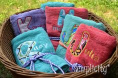 Embroidered towel party favors