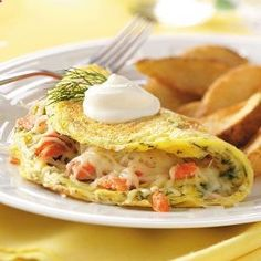Dilled Salmon Omelets with Creme Fraiche | Recipes Home