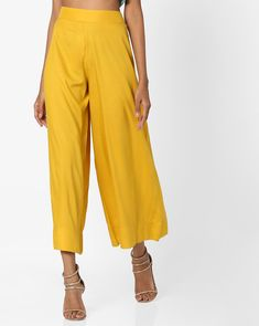 6331e583821b07 Buy AJIO Women Yellow Mid-Rise Palazzo Pants | AJIO