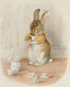 "Beatrix Potter""s bunny drinking tea"