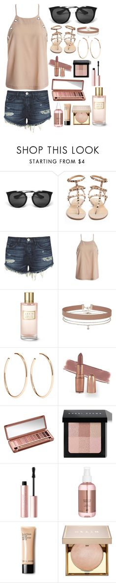"""""""Travel Casual"""" by foreverdecadent ❤ liked on Polyvore featuring Prada, Valentino, 3x1, Sans Souci, Estée Lauder, Miss Selfridge, Jennifer Fisher, Urban Decay, Bobbi Brown Cosmetics and Too Faced Cosmetics"""