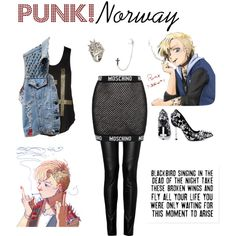 """""""Punk!Norway (hetalia)"""" by isabel-kitty-marie on Polyvore"""