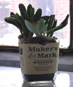 Take a look at this 'Maker's Mark' Bottle Planter today!
