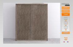 Ahora tenemos el armario con 2 puertas correderas las cuales son lisas ya que vamos a cambiarlas pues en este catálogo hay varios modelos diferentes de puertas y colores que podemos combinar y así tener las puertas diferentes pue es la pantalla que vamos a ver a continuación.