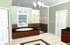 Bathroom rendering created in Chief Architect by  J.S. Brown & Co.  #jsbrownco