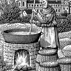 monk brewing, woodcut