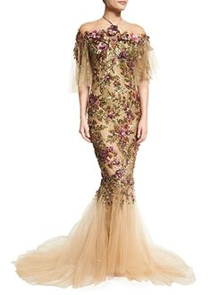 Floral-Embroidered+Halter+Mermaid+Gown,+Nude/Multi+by+Marchesa+at+Neiman+Marcus.