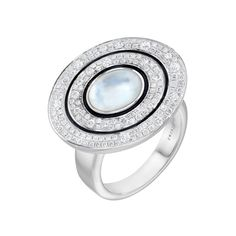 Ivanka Trump Pavé Diamond Ring with Mother-of-Pearl Backed Rock Crystal Center