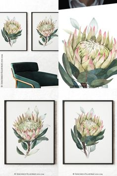 Purchase this wall art digital prints listing by clicking on 'Add to Cart' and following the prompts #digitalprints #flowersdecor #flowerslove #proteas #loveflorals #nativeflowers #artprintable #etsyposters
