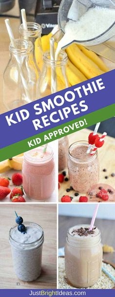 Got a Kid that Won't Eat Fruit? These Kid Smoothie Recipes Will Fix That! If your child sees fruit and runs the other way check out these delicious smoothies for kids recipes. They'll be loaded up with fruit before you know it! Smoothie Recipes For Kids, Breakfast Smoothie Recipes, Yummy Smoothies, Healthy Snacks For Kids, Smoothies For Toddlers, Healthy Drinks, Healthy Smoothies For Kids, Detox Drinks, Healthy Foods