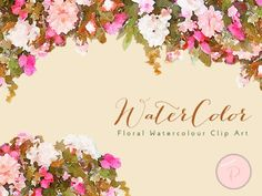 pink-Watercolor Flower Berry, Autumn Floral Clip art, Watercolor Floral wedding