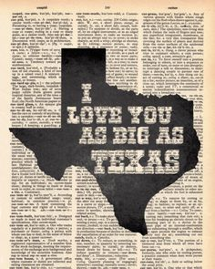 Vintage Dictionary I love you as big as Texas print- plus FREE 5x7 monogram on Etsy, $9.00