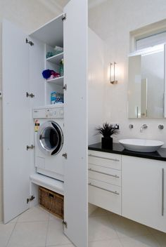 New ideas for bath room closet combo hidden laundry Under Bathroom Sink Storage, Laundry Bathroom Combo, Ada Bathroom, Bathroom Cupboards, Laundry Closet, Bathroom Closet, Bathroom Sink Vanity, Bathroom Renos, Bathroom Flooring