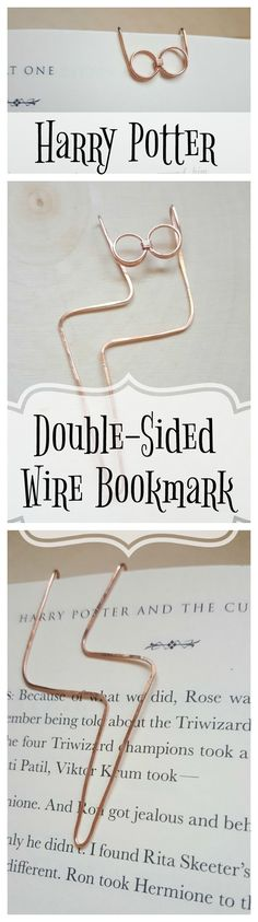 Harry Potter bookmark. Wire, double-sided, with Harry Potter's glasses and lightning bolt scar.