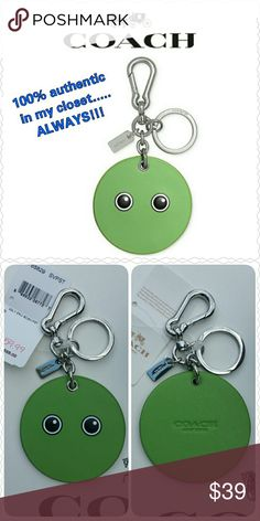 """NEW Coach Bag Charm with tag Brand NEW authentic Coach Bag Charm  * Style F65829, retail $65 * Smooth Leather """"GOOGLY"""" Emoji  * Silver-tone hardware & Coach hang-tag  * Pistachio in color * Split key ring & carabiner clip attached  * Size:  2 3/4"""" in diameter  * Non-smoking home * Price firm unless bundling due to Posh fee * Sorry, no trades * Thanks for visiting my closet!  Aurora33180 Coach Accessories Key & Card Holders"""