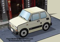 Fiat Panda Paper Model In Sd Style - by Miyoshi Katsuyuki  - == -  A very nice and easy-to-build paper model of a Fiat Panda in SD style (Super Deformed style), created by Japanese designer Miyoshi Katsuyuki.
