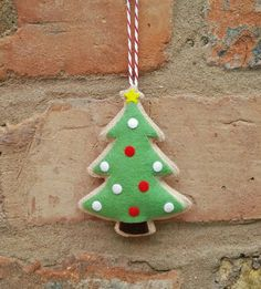Felt Christmas tree cookie ornament by TillysHangout on Etsy