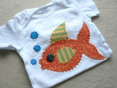 Items similar to Fish Applique Onesie or Tee You Choose Size and Colors on Etsy Applique Onesie, Wool Applique, Applique Patterns, Applique Designs, Shirt Embroidery, Custom Embroidery, Homemade Shirts, Sewing Crafts, Sewing Projects