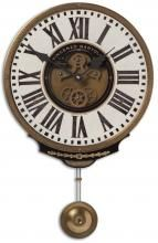 Weathered, Laminated Clock Face With A Cast Brass Outer Rim, Brass Center Components And Pendulum.Weathered Laminated Clock Face With A Cast Brass Outer Rim, Brass Center Components And Pendulum. Cream Wall Clocks, Pendulum Wall Clock, Farmhouse Wall Clocks, Tabletop Clocks, Cream Walls, Thing 1, Desk Clock, Clock Art, Facades