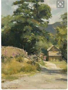 (Green Country Art) Lane Foxgloves in the Edale Valley, David Curtis Watercolor Landscape, Landscape Art, Landscape Paintings, Watercolor Paintings, Watercolors, Beautiful Paintings, Beautiful Landscapes, Farm Paintings, Art Aquarelle
