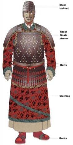 Han Dynasty noble attires in body armor.