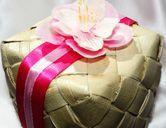 Cherry Blossom Favor Box - Wedding Lauhala Palm Leaf