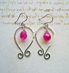 Silver Paisely Earrings Hot Pink Gemstone